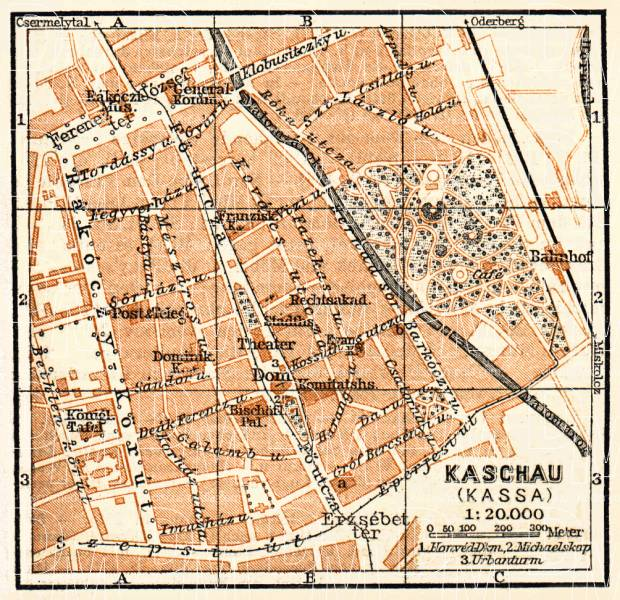 Kaschau (Košice) city map, 1911. Use the zooming tool to explore in higher level of detail. Obtain as a quality print or high resolution image