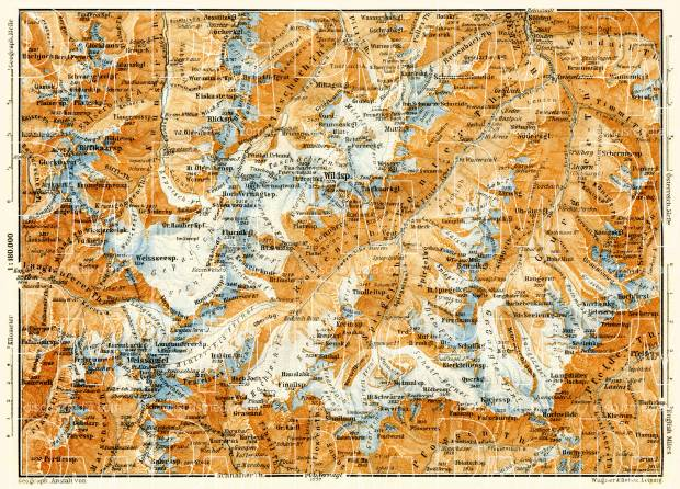 Ötztal Alps, inner part, 1906. Use the zooming tool to explore in higher level of detail. Obtain as a quality print or high resolution image