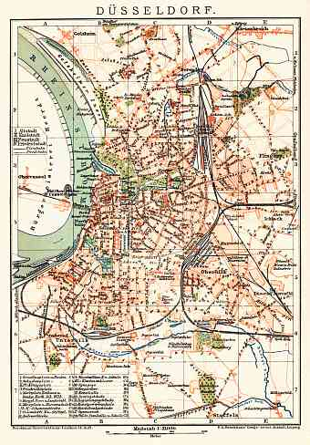 Düsseldorf city map, about 1910