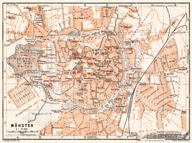 Münster city map, 1906. Use the zooming tool to explore in higher level of detail. Obtain as a quality print or high resolution image