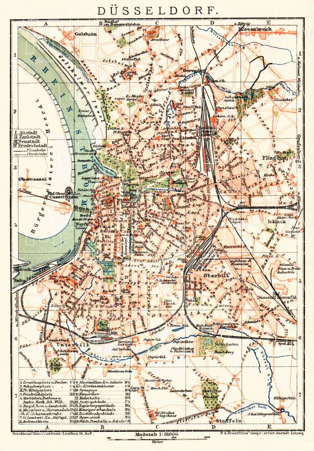 Düsseldorf city map, about 1910. Use the zooming tool to explore in higher level of detail. Obtain as a quality print or high resolution image
