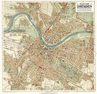 Dresden city map, about 1910