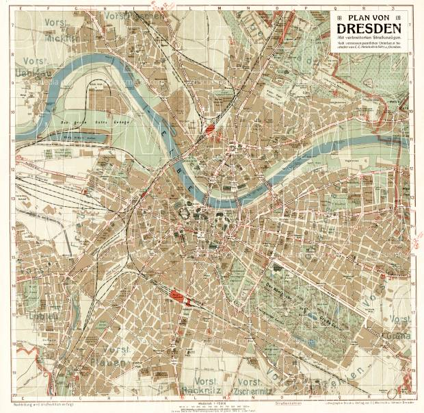 Dresden city map, about 1910. Use the zooming tool to explore in higher level of detail. Obtain as a quality print or high resolution image