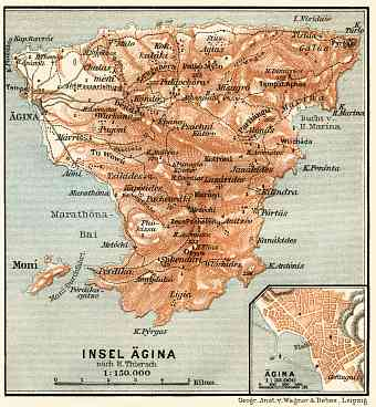 Aegina isle map, Aegina city map, 1908