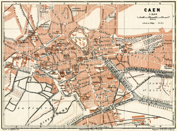 Caen city map, 1913. Use the zooming tool to explore in higher level of detail. Obtain as a quality print or high resolution image