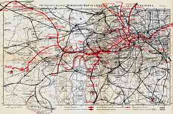 London miniature map with the District Railroad diagram, 1907