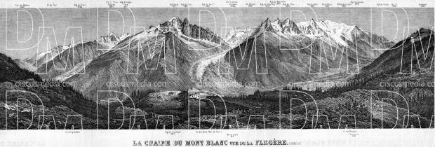 Mont Blanc Chain panorame, 1900. Use the zooming tool to explore in higher level of detail. Obtain as a quality print or high resolution image