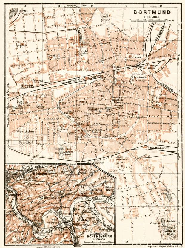 Dortmund city map, 1906. Approaches to Hohensyburg. Use the zooming tool to explore in higher level of detail. Obtain as a quality print or high resolution image