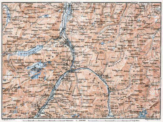 Glarus and environs map, 1909. Use the zooming tool to explore in higher level of detail. Obtain as a quality print or high resolution image