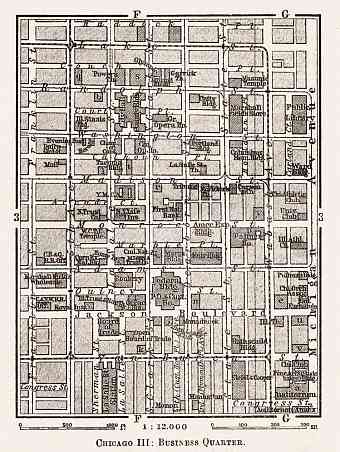 Chicago III (business quarter) city map, 1909