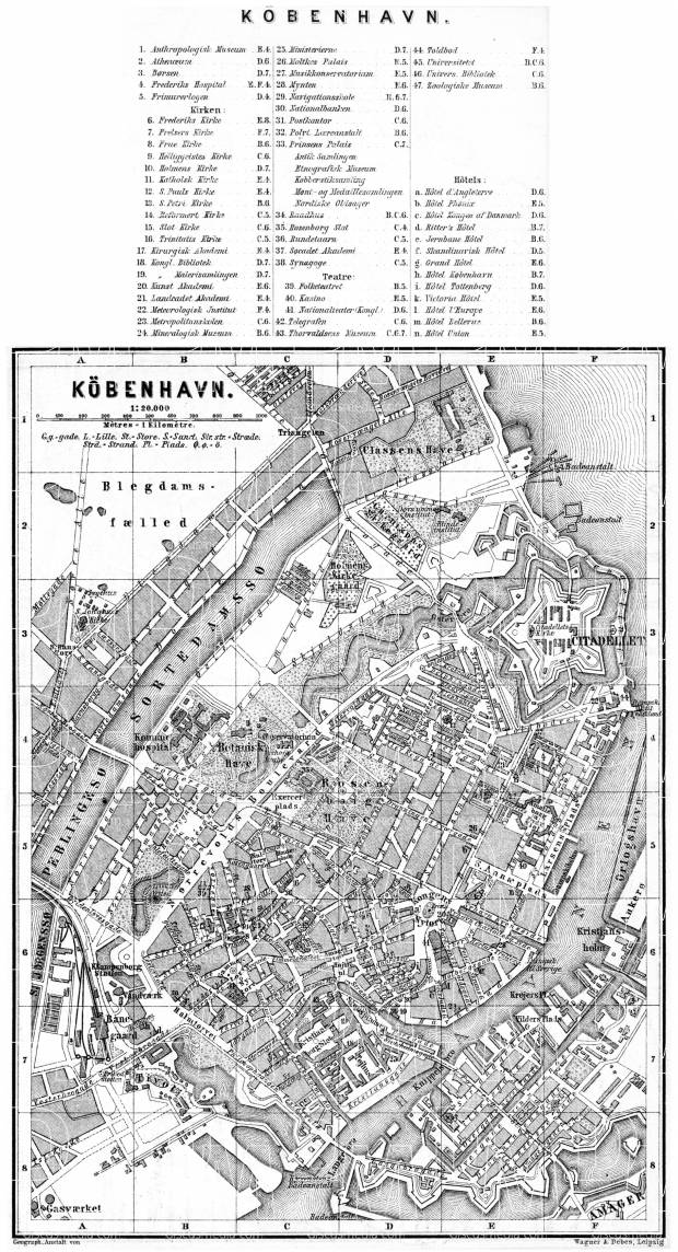 Copenhagen (Kjöbenhavn, København) central part map, 1887. Use the zooming tool to explore in higher level of detail. Obtain as a quality print or high resolution image