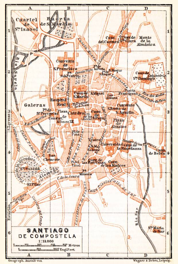 Santiago de Compostela city map, 1899. Use the zooming tool to explore in higher level of detail. Obtain as a quality print or high resolution image