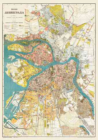 Leningrad (Ленинград, Saint Petersburg) city map, 1925