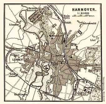 Hannover and Environs map, 1887