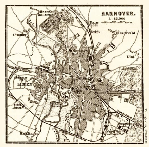 Hannover and Environs map, 1887. Use the zooming tool to explore in higher level of detail. Obtain as a quality print or high resolution image