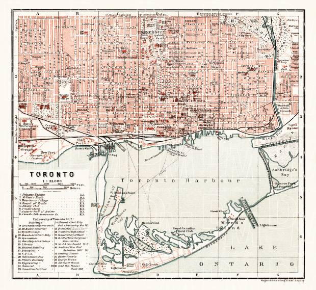 Toronto city map, 1907. Use the zooming tool to explore in higher level of detail. Obtain as a quality print or high resolution image