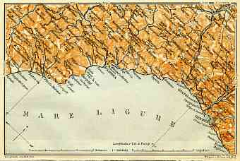 Italian Genoese Riviera (Rivière) from Savona to Genoa, map, 1908