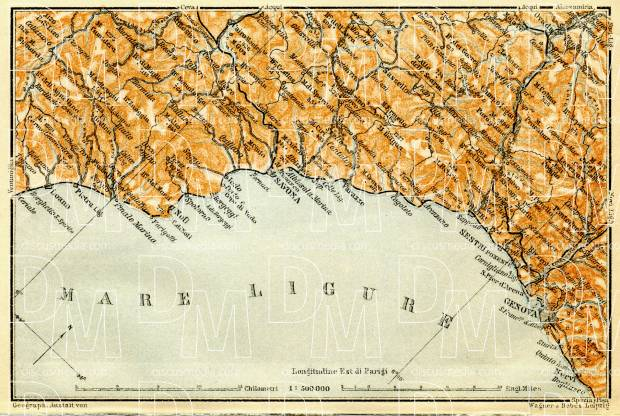 Italian Genoese Riviera (Rivière) from Savona to Genoa, map, 1908. Use the zooming tool to explore in higher level of detail. Obtain as a quality print or high resolution image