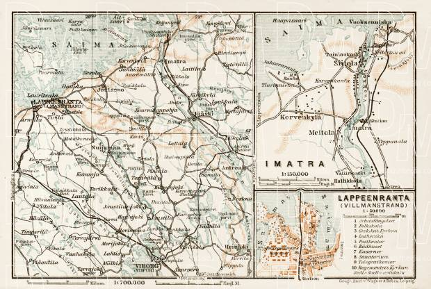 Willmanstrand (Lappeenranta) to Viborg (Viipuri) region map. Willmanstrand town plan, Imatra region map, 1929. Use the zooming tool to explore in higher level of detail. Obtain as a quality print or high resolution image