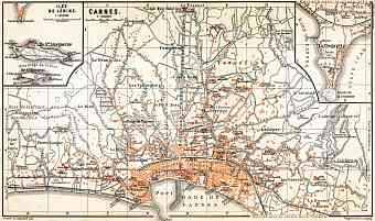 Cannes city map, 1900