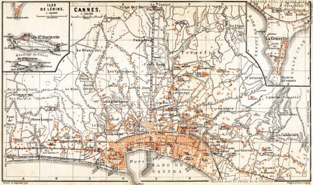Old map of Cannes in 1900 Buy vintage map replica poster print or