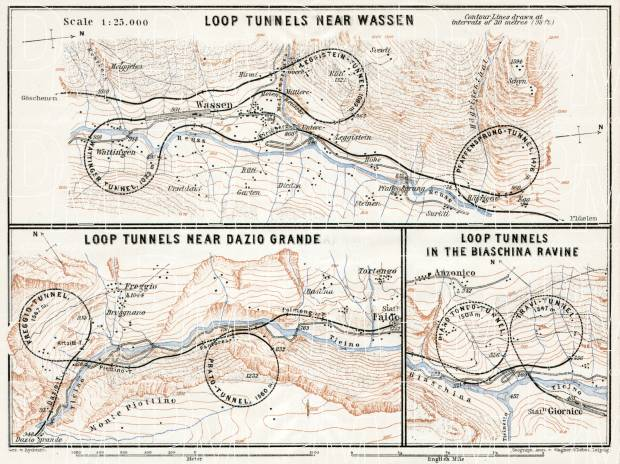 Gotthard railway. St. Gotthard spiral (loop) tunnels´ map, 1909. Use the zooming tool to explore in higher level of detail. Obtain as a quality print or high resolution image