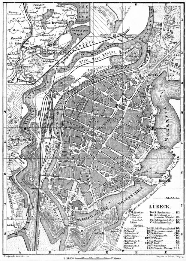 Lübeck, city map. Environs of Lübeck map, 1887. Use the zooming tool to explore in higher level of detail. Obtain as a quality print or high resolution image