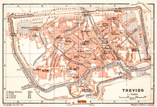 Old map of Treviso in 1908 Buy vintage map replica poster print or