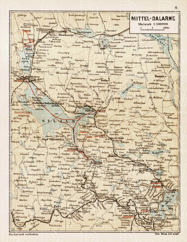 Middle Dalarna (Mellersta Dalarna), region map, 1899. Use the zooming tool to explore in higher level of detail. Obtain as a quality print or high resolution image