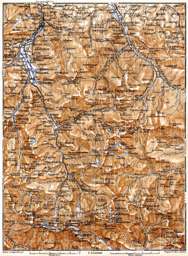 Lourdes-Bagneres map, 1885. Use the zooming tool to explore in higher level of detail. Obtain as a quality print or high resolution image