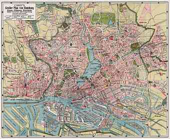 Hamburg and Altona city map, 1912