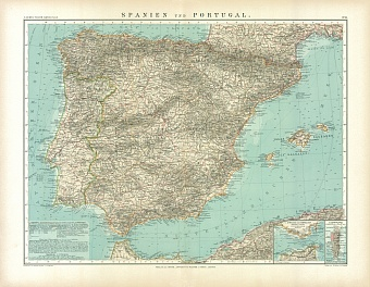 Spain and Portugal Map, 1905