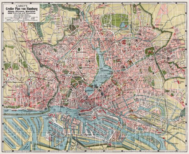Hamburg and Altona city map, 1912. Use the zooming tool to explore in higher level of detail. Obtain as a quality print or high resolution image