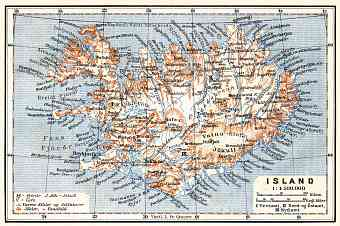 Iceland, general map, 1910