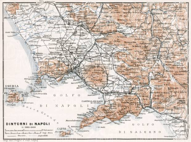 Naples (Napoli) western environs map, 1911. Use the zooming tool to explore in higher level of detail. Obtain as a quality print or high resolution image