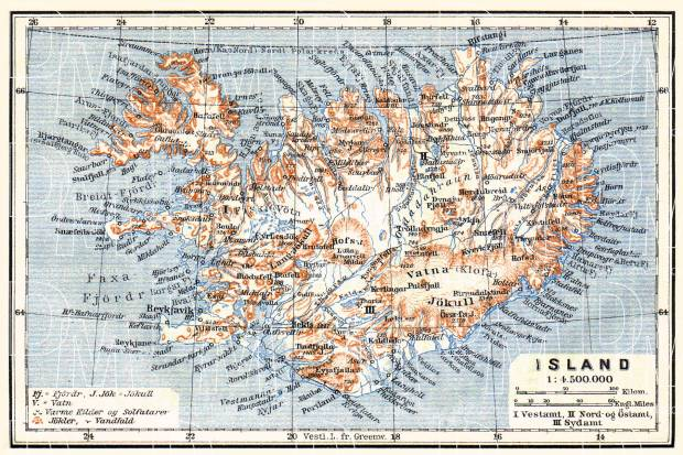 Iceland, general map, 1910. Use the zooming tool to explore in higher level of detail. Obtain as a quality print or high resolution image