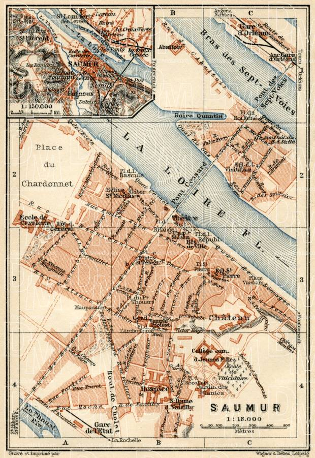 Saumur city map, 1913. Use the zooming tool to explore in higher level of detail. Obtain as a quality print or high resolution image
