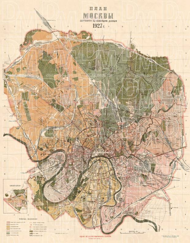 Moscow (Москва, Moskva) city map, 1927. Use the zooming tool to explore in higher level of detail. Obtain as a quality print or high resolution image