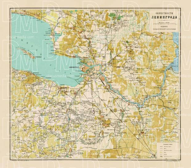 Leningrad (Saint Petersburg) environs map (Окрестности Ленинграда), about 1926. Use the zooming tool to explore in higher level of detail. Obtain as a quality print or high resolution image