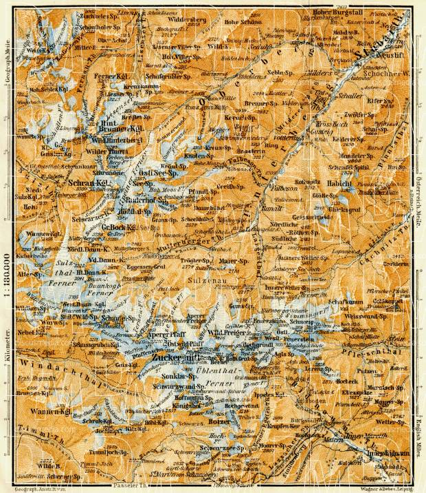 Stubaier Alpen (Stubai Alps) map, 1906. Use the zooming tool to explore in higher level of detail. Obtain as a quality print or high resolution image