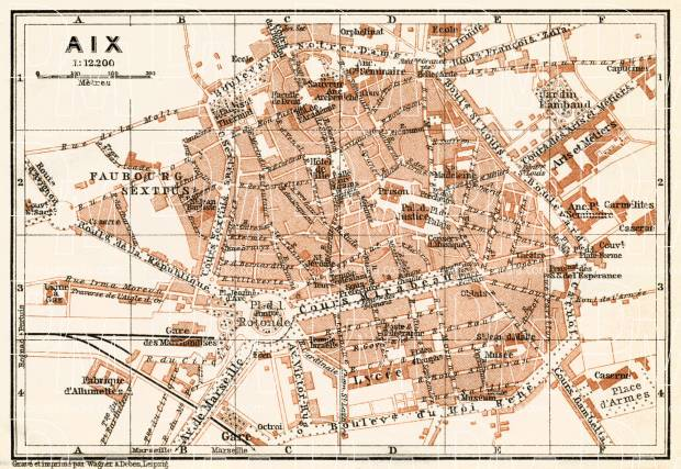 Aix (Bouches-du-Rhône) city map, 1913. Use the zooming tool to explore in higher level of detail. Obtain as a quality print or high resolution image