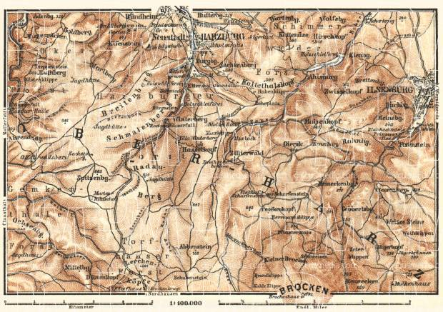 Upper Harz Mountains map, 1887. Use the zooming tool to explore in higher level of detail. Obtain as a quality print or high resolution image