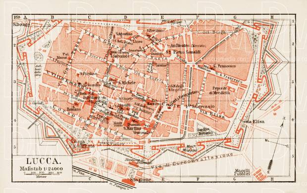 Old map of Lucca in 1903 Buy vintage map replica poster print or