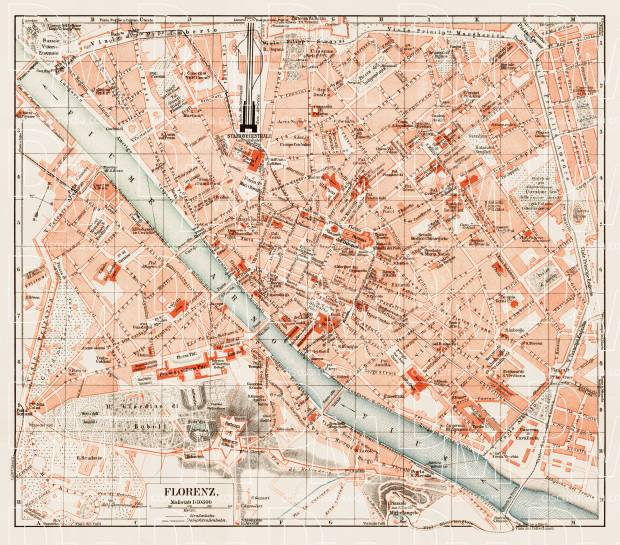Old map of Florence Firenze in 1903 Buy vintage map replica