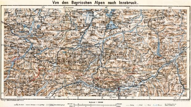Bavarian Alps to Innsbruck map, 1911. Use the zooming tool to explore in higher level of detail. Obtain as a quality print or high resolution image