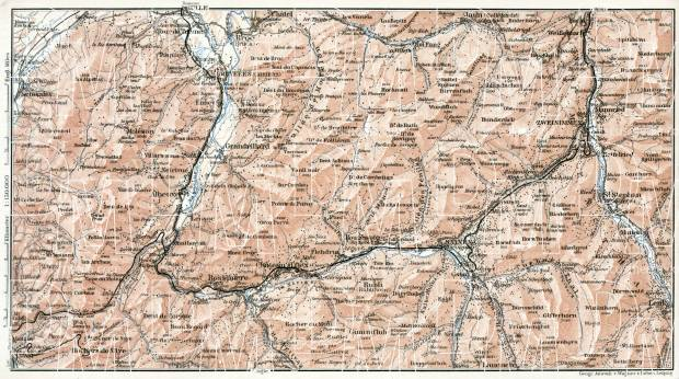 Sarine and Simme Valleys map, 1909. Use the zooming tool to explore in higher level of detail. Obtain as a quality print or high resolution image