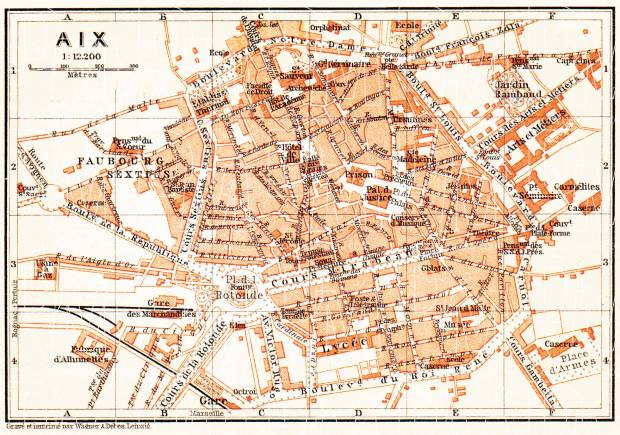 Aix (Bouches-du-Rhône) city map, 1900. Use the zooming tool to explore in higher level of detail. Obtain as a quality print or high resolution image