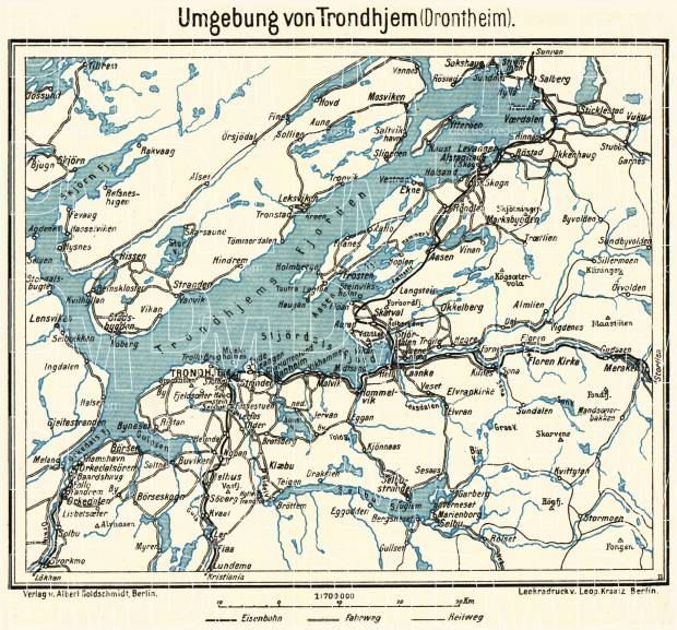 Old map of Trondheim Trondhjem in 1913 Buy vintage map replica