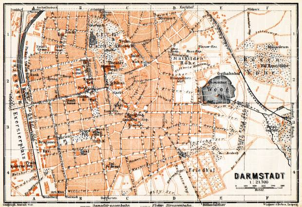 Darmstadt city map, 1905. Use the zooming tool to explore in higher level of detail. Obtain as a quality print or high resolution image