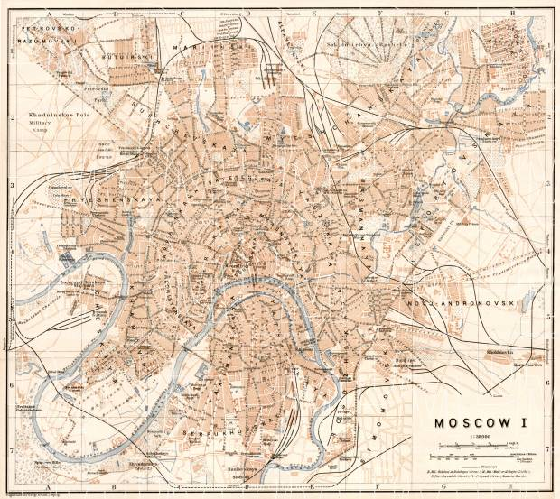 Moscow (Москва, Moskva), city map (in English), 1914. Use the zooming tool to explore in higher level of detail. Obtain as a quality print or high resolution image